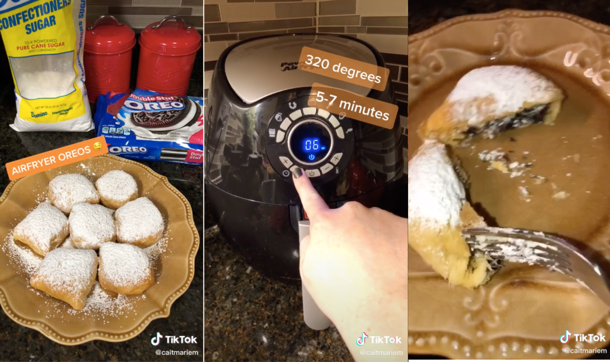 A woman using an air fryer and crescent roll dough to make fried oreos.