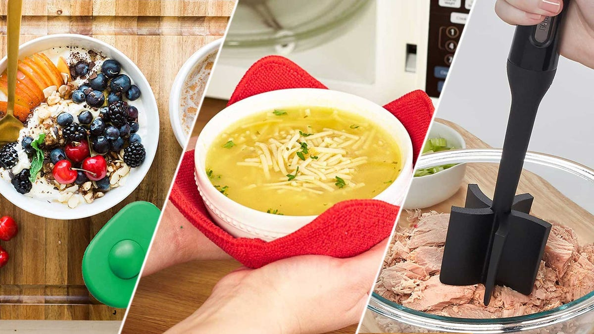 From left to right: an avocado tool, an insulated bowl holder, and a masher.