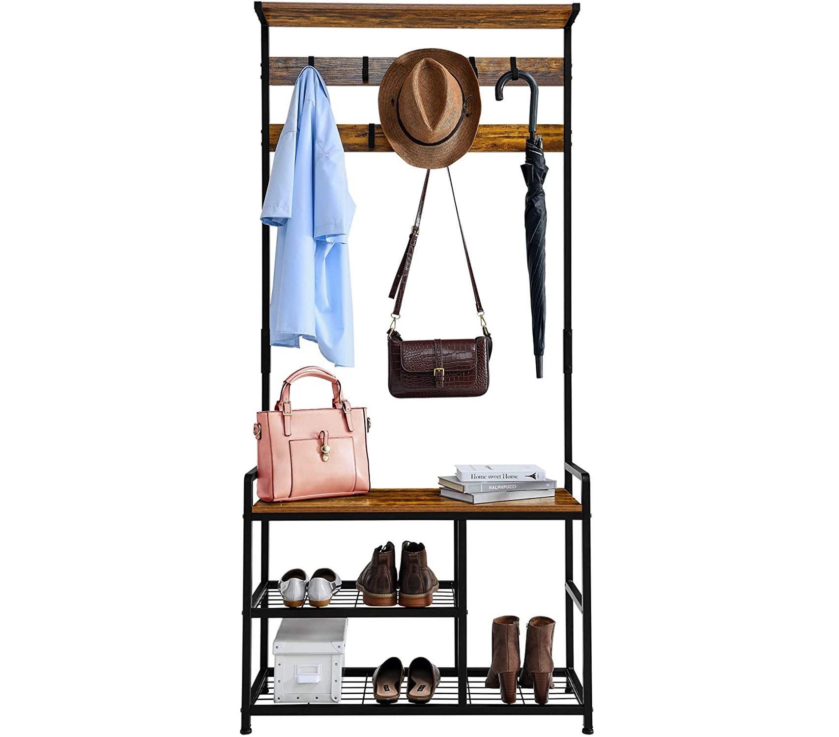 Wood and metal bench with hat hooks above and shoe shelves below