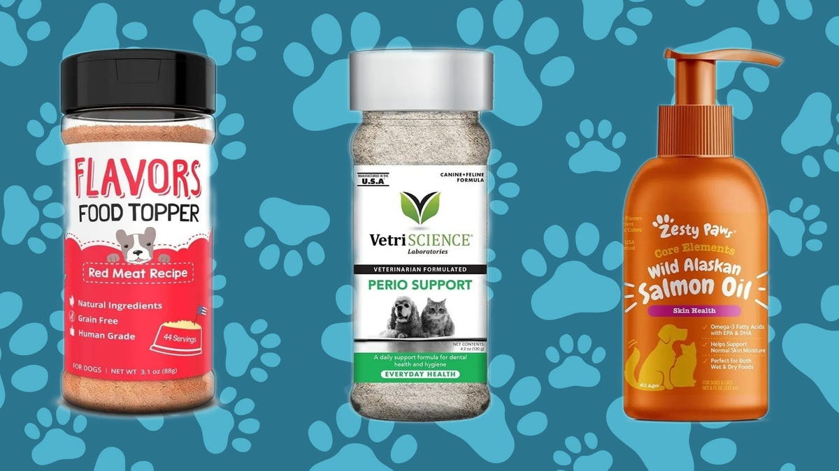 Examples of dog food toppers from different companies.