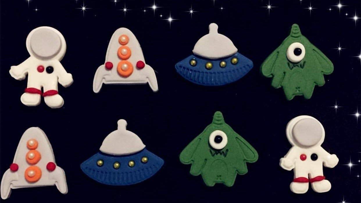 Astronaut and alien cookies.