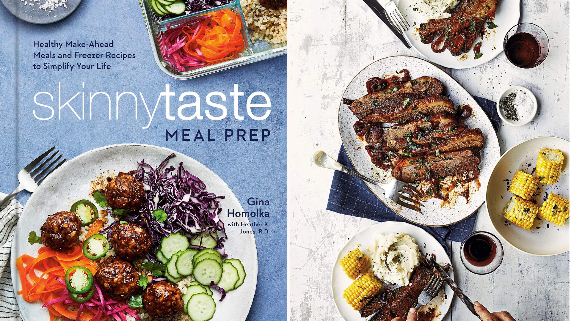 "The ""Skinnytaste"" cookbook and a steak meal."