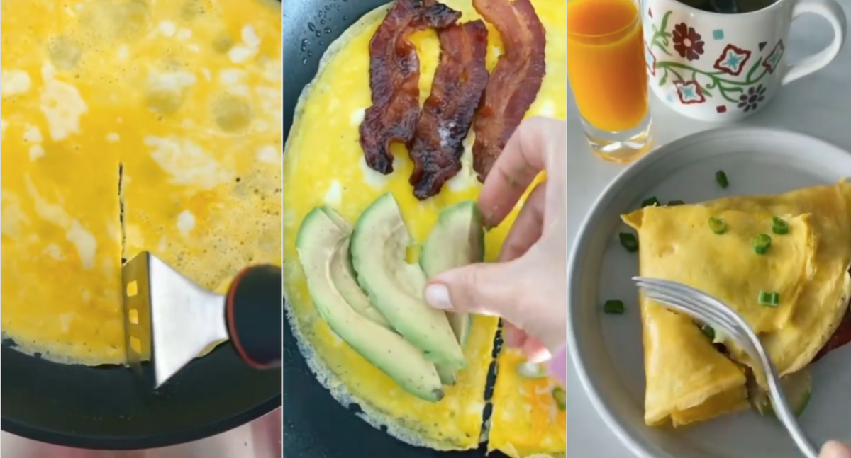Three scenes from a video of a woman making an omelet by cutting a line through the eggs and folding the sections together.