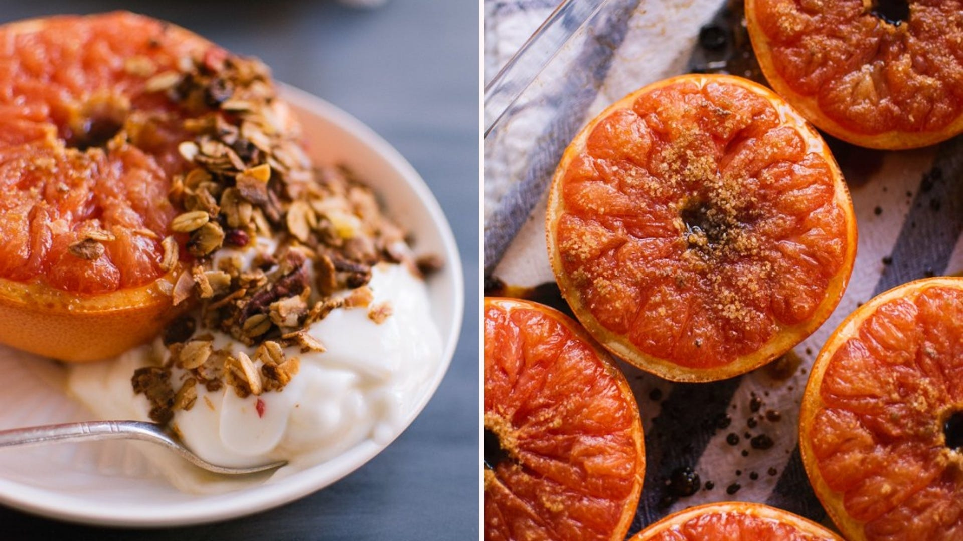 Broiled grapefruit with yogurt and granola on the side