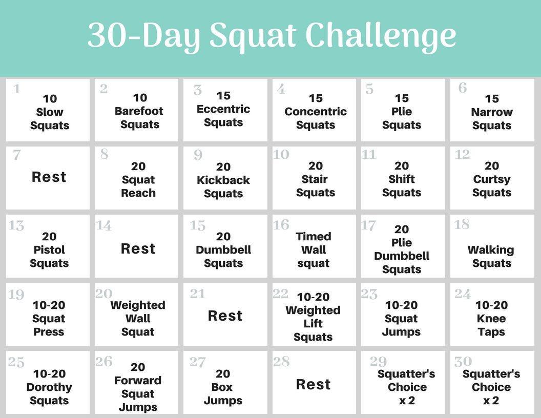 30 day squat fitness challenge worksheet.