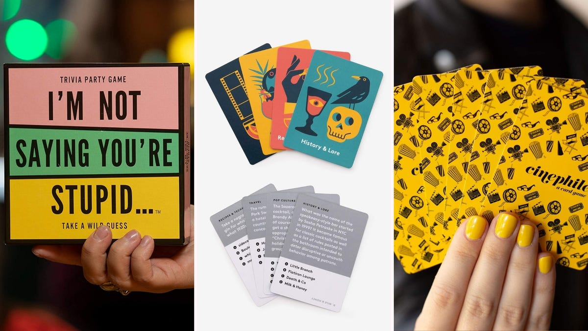 """The """"I'm Not Saying You're Stupid"""" game box, eight cards from """"History & Lore,"""" and someone holding a hand of """"Cinephile"""" cards."""