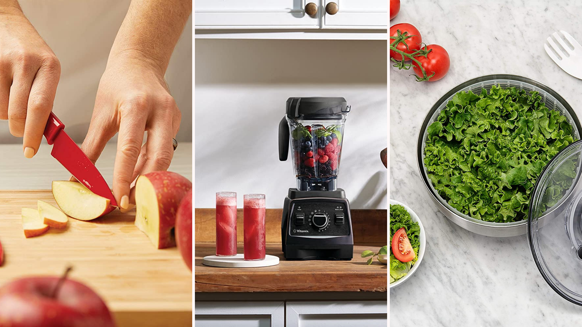 red knife cutting an apple, a blender with juice, a bowl of salad
