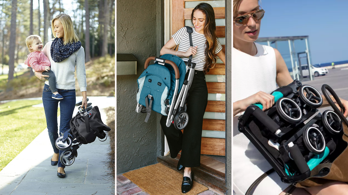 Three different women holding folded compact strollers.