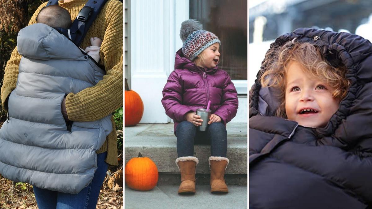 baby in carrier, toddler girl in winter coat, baby in stroller