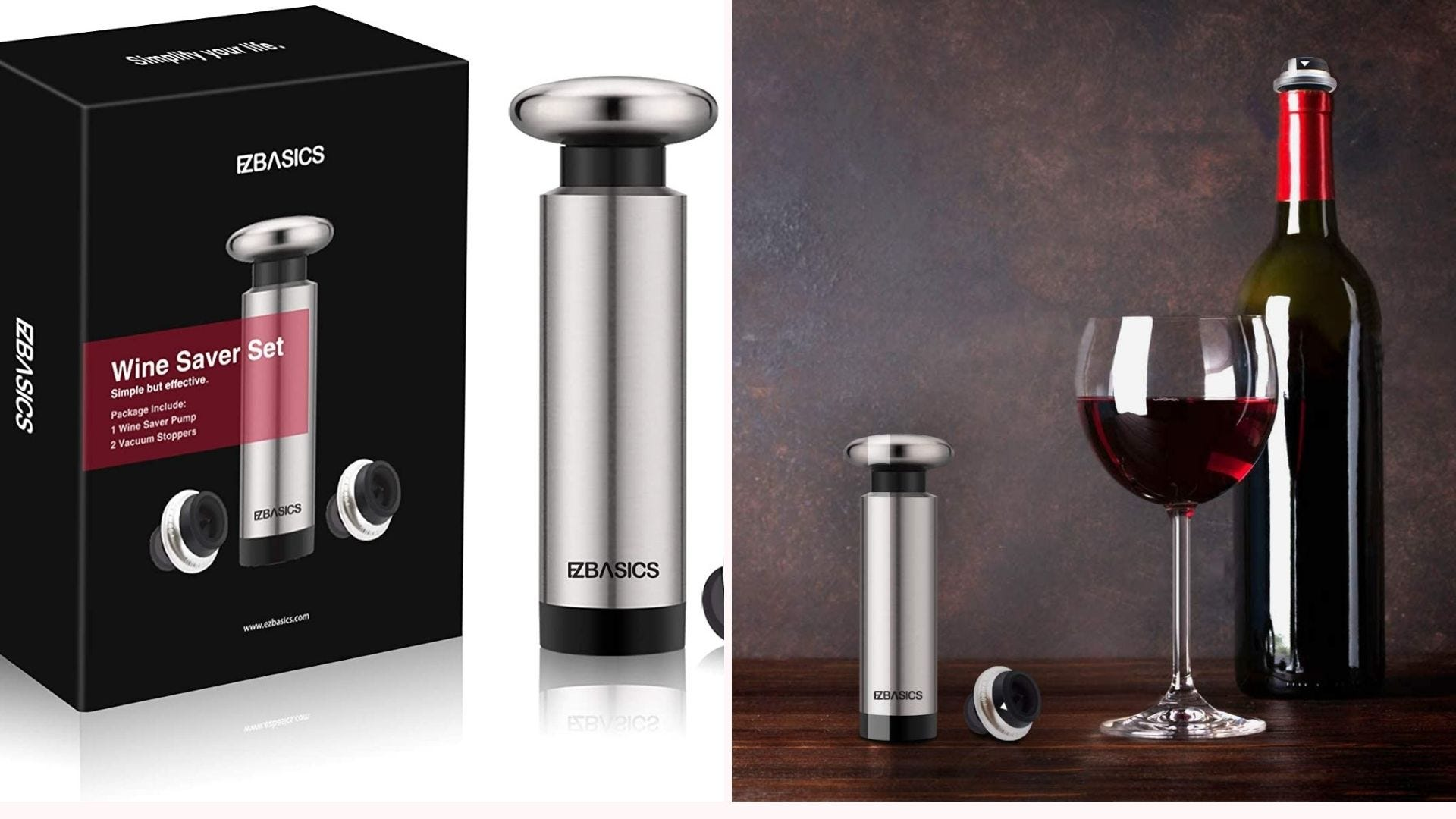Wine vacuum sealer and stopper, and a bottle and glass of red wine.