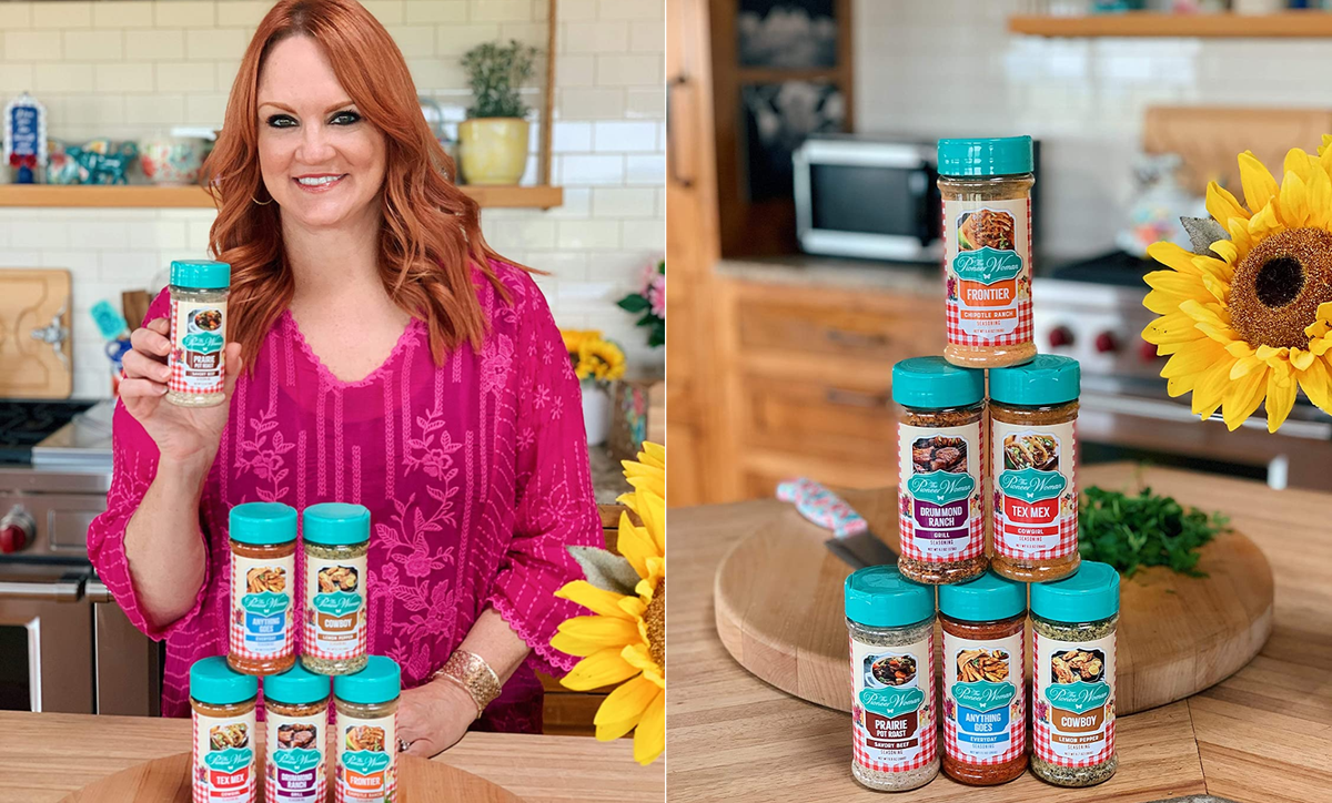 Ree Drummond holding up one of her new spices and a stack of all her new spices on a counter.