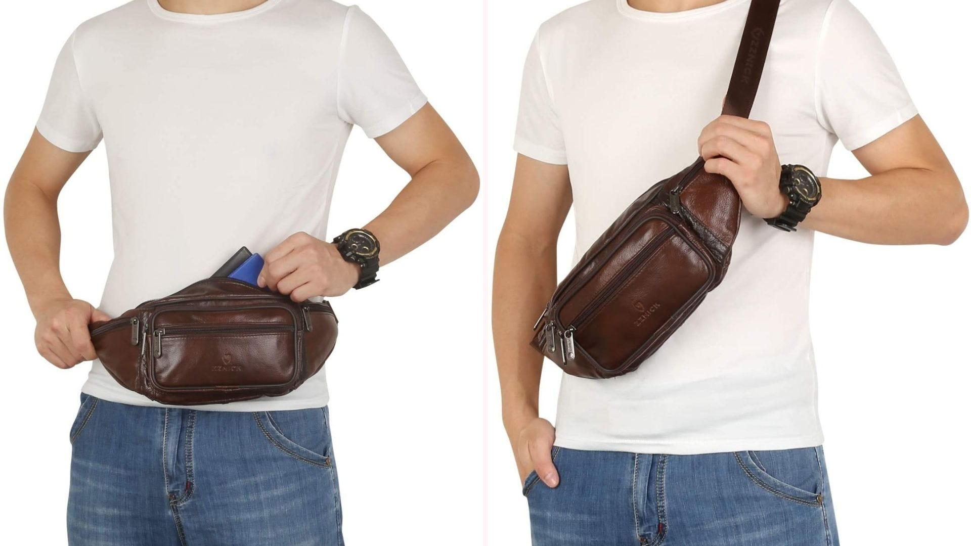 A man wearing the ZZNICK leather fanny pack at the waist and as a crossbody bag.