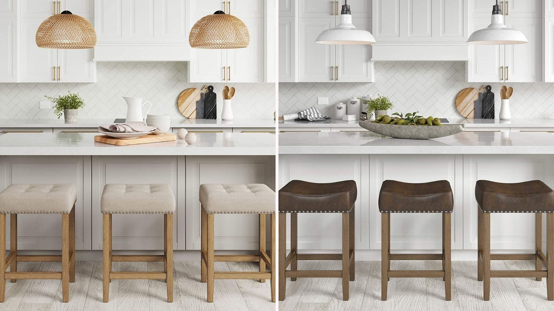 Three natural wooden stools with tan fabric cushions, and three natural dark wooden stools with dark brown leather cushions.
