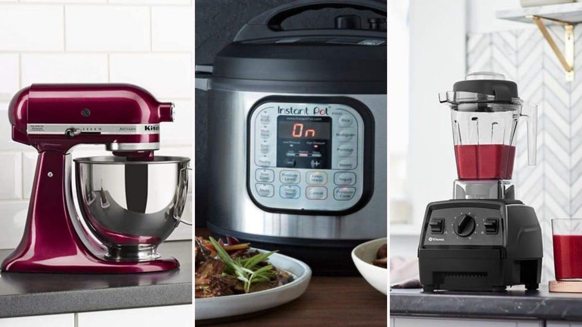 A KitchenAid stand mixer, Instant Pot, and Vitamix blender.