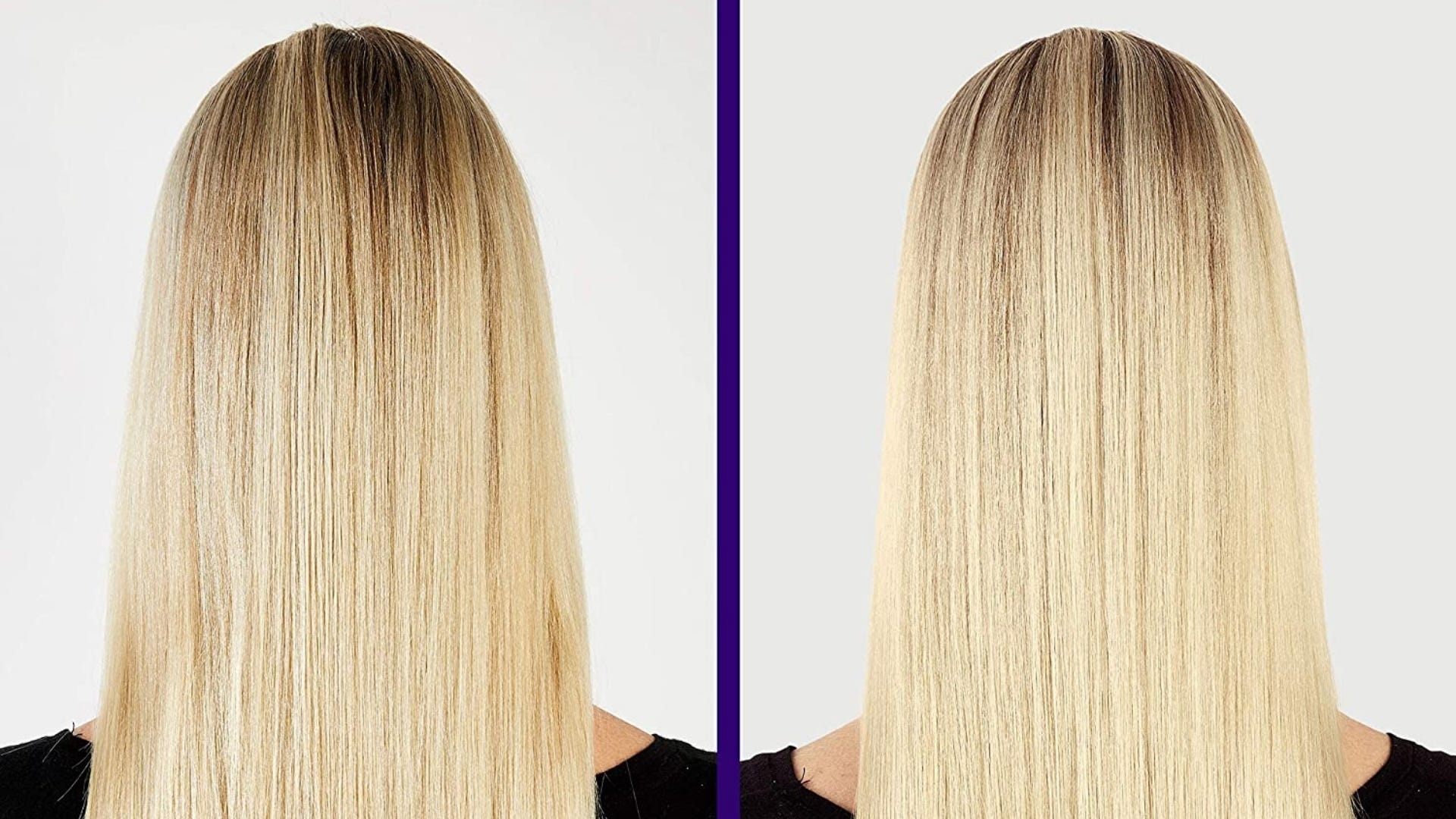 Side by side photos of girl with blonde hair that has been toned