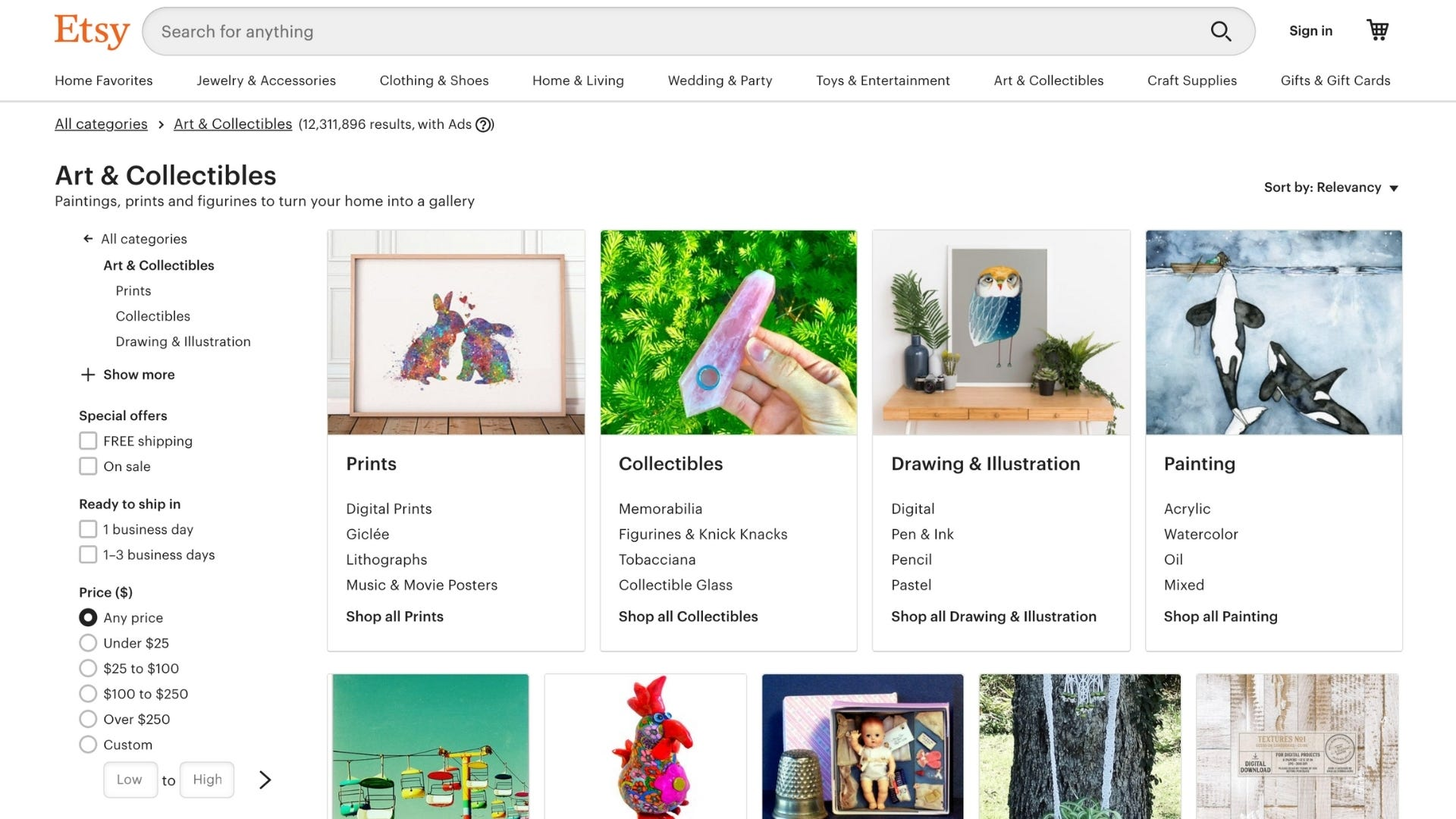 The Etsy homepage featuring examples of handmade unique art.