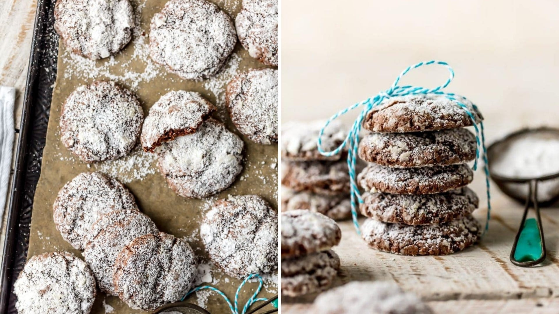 Chocolate gooey cake cookies on a baking sheet and a stack of them tied with string.