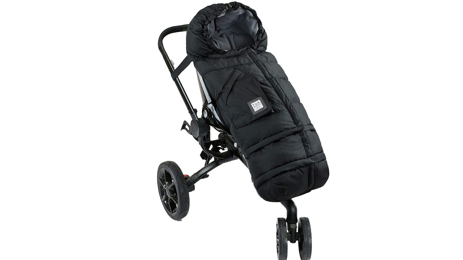 black blanket on stroller