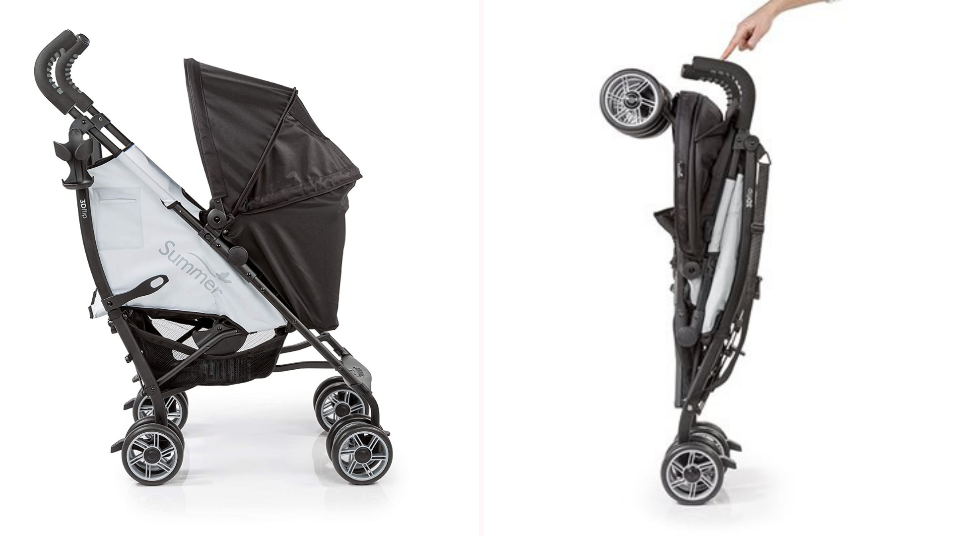 A Summer Infant Flip 3D stroller in the open and closed positions.