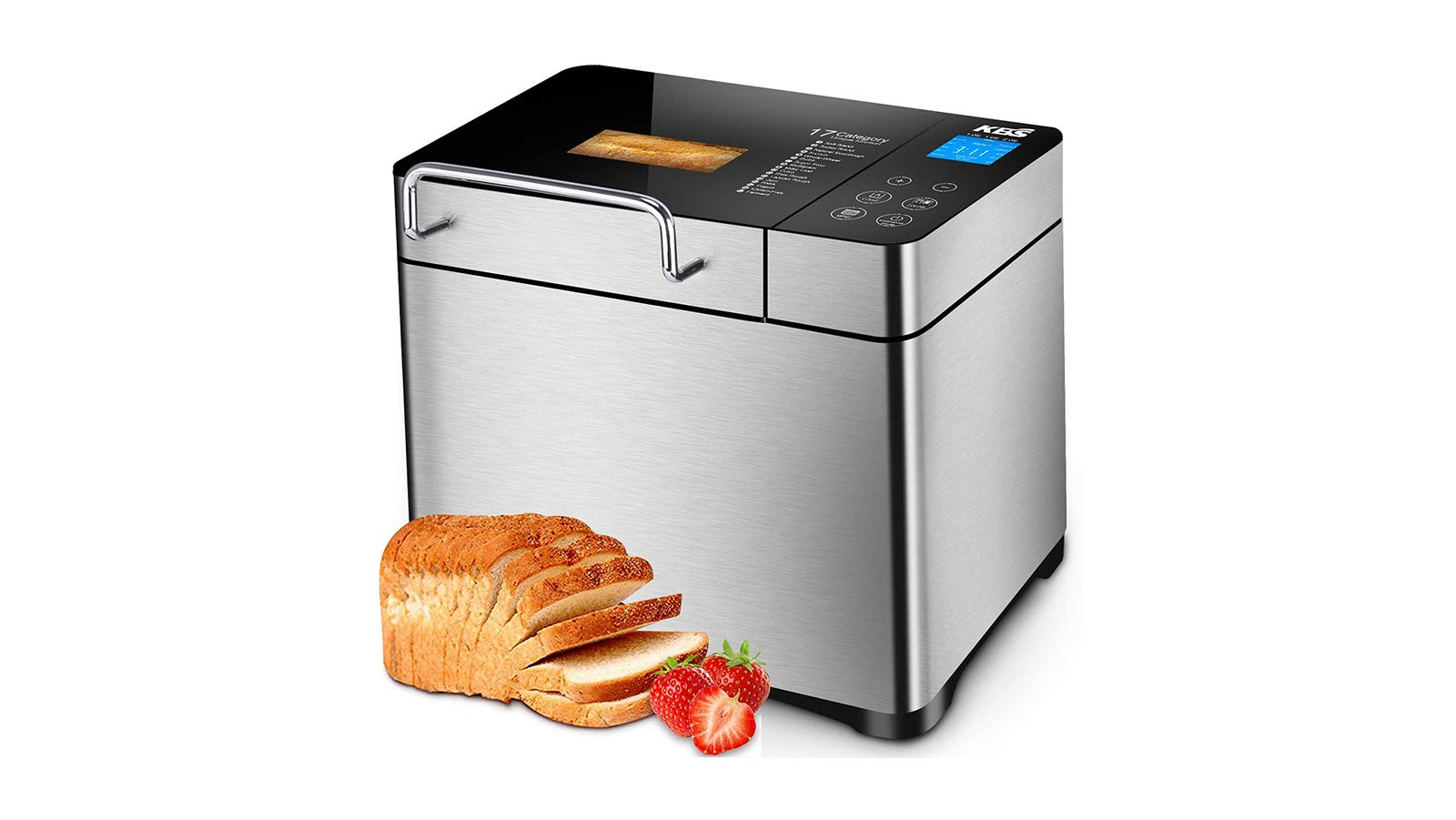 Silver rectangular bread machine with a loaf of sliced bread