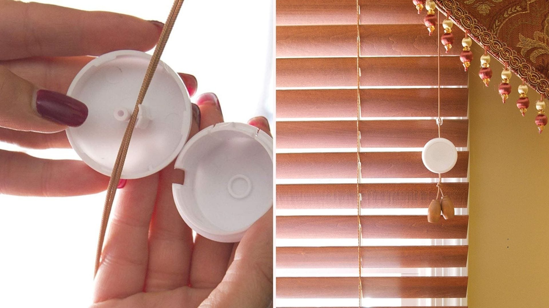 Someone securing a Dreambaby Window Blind Cord Wind Up to a blind cord.