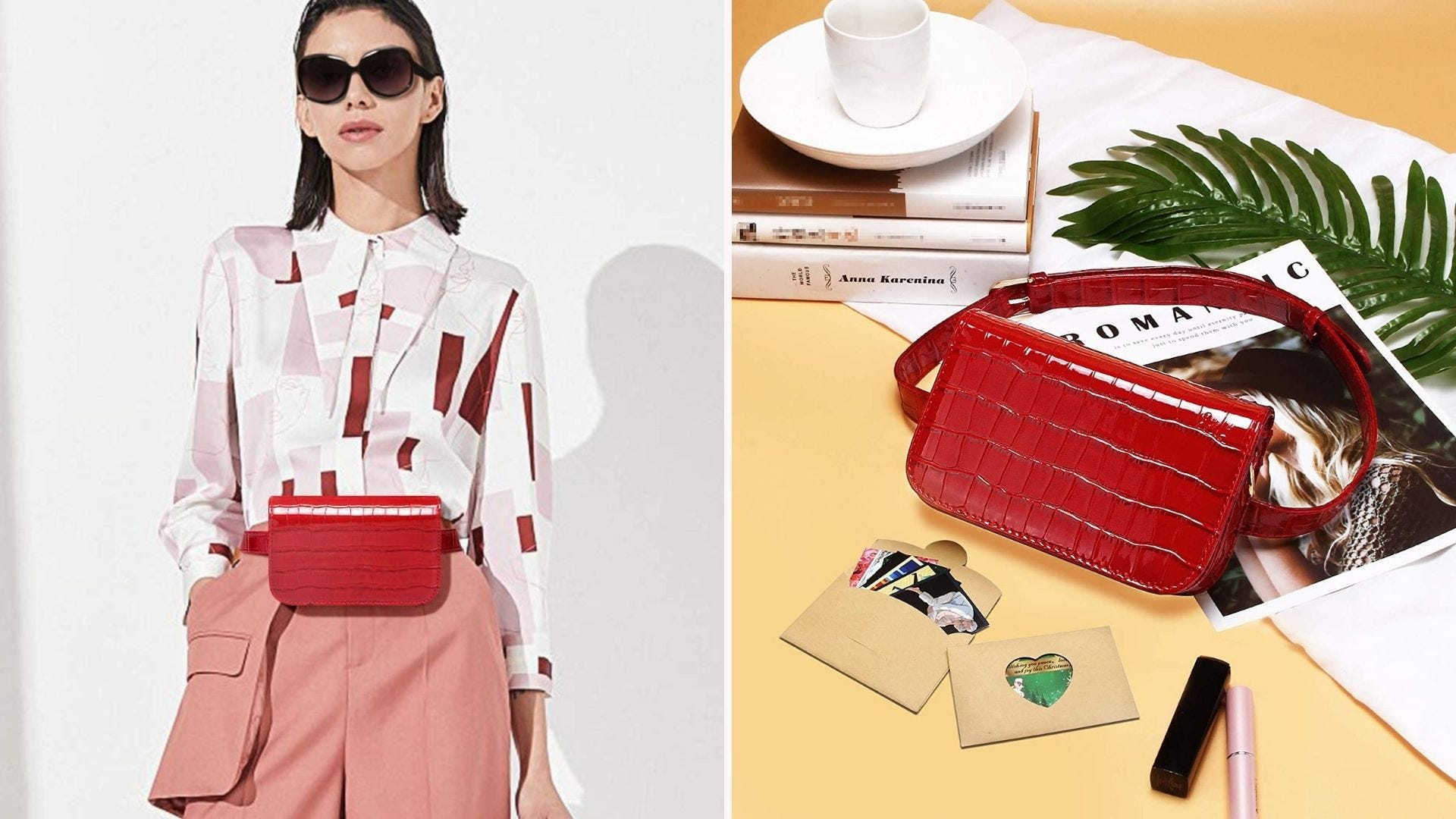 A stylish woman wearing the red Badiyah Waist bag and the red waist bag lying on a table next to some makeup tubes and a stack of books.