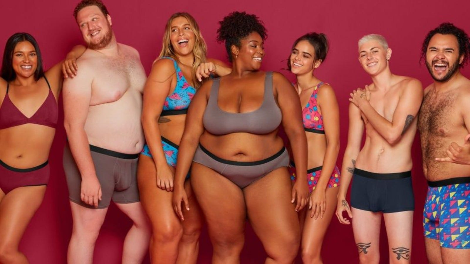Seven men and women all wearing MeUndies underwear.