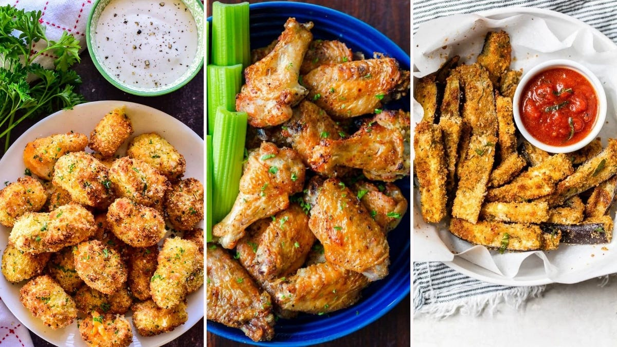 A tri fold image displaying images of some of the recipes presented below. The Left image is of air-fried cheese curds from Lemon Tree Dwelling, the middle image is of air-fried chicken wings from Natasha's Kitchen, and the right image is of eggplant fries by Skinny Taste.