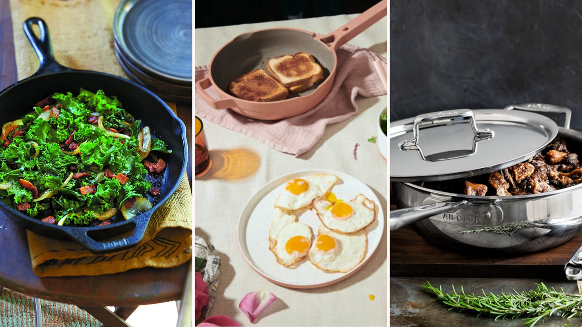 Different examples of non-toxic cookware including cast iron and stainless steel pans.