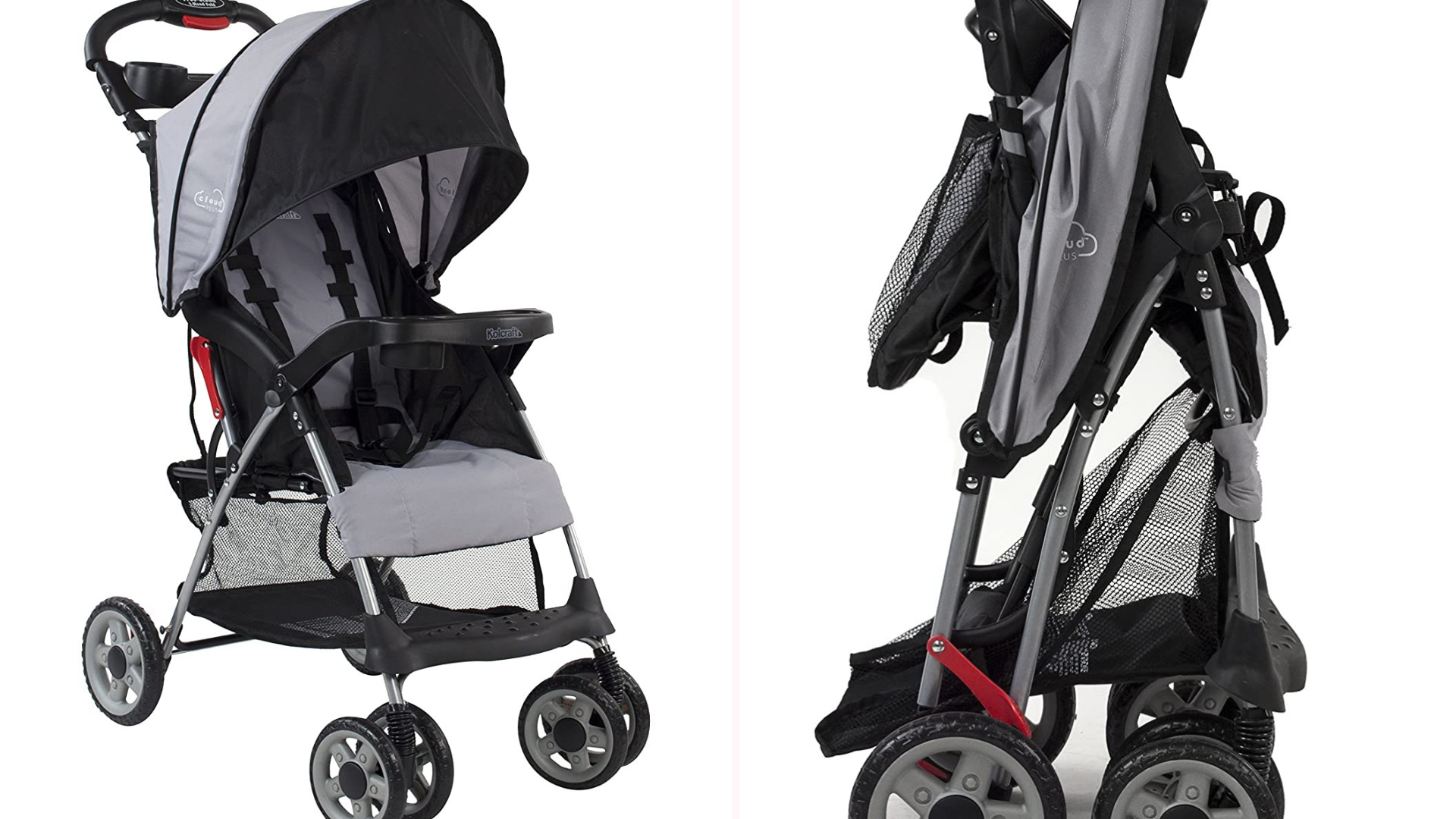 A Kolcraft foldable stroller in the opena nd closed positions.