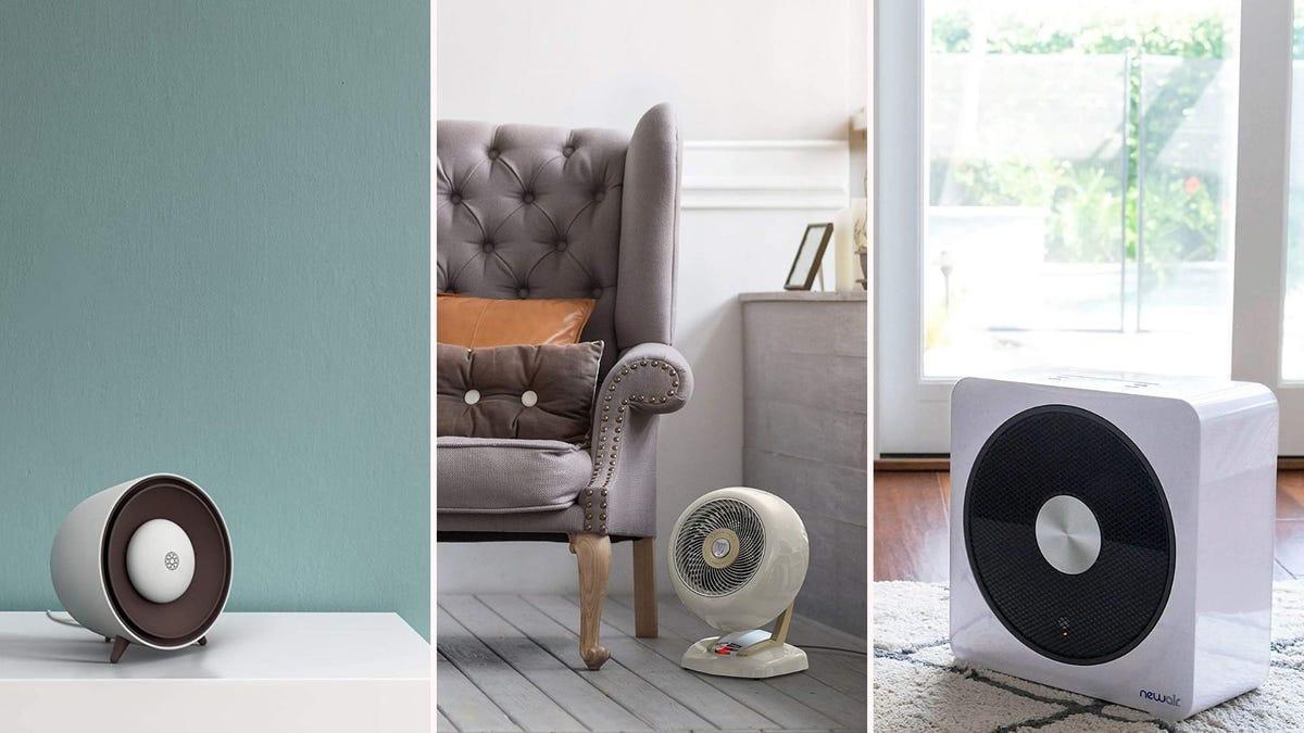 Three stylish space heaters.