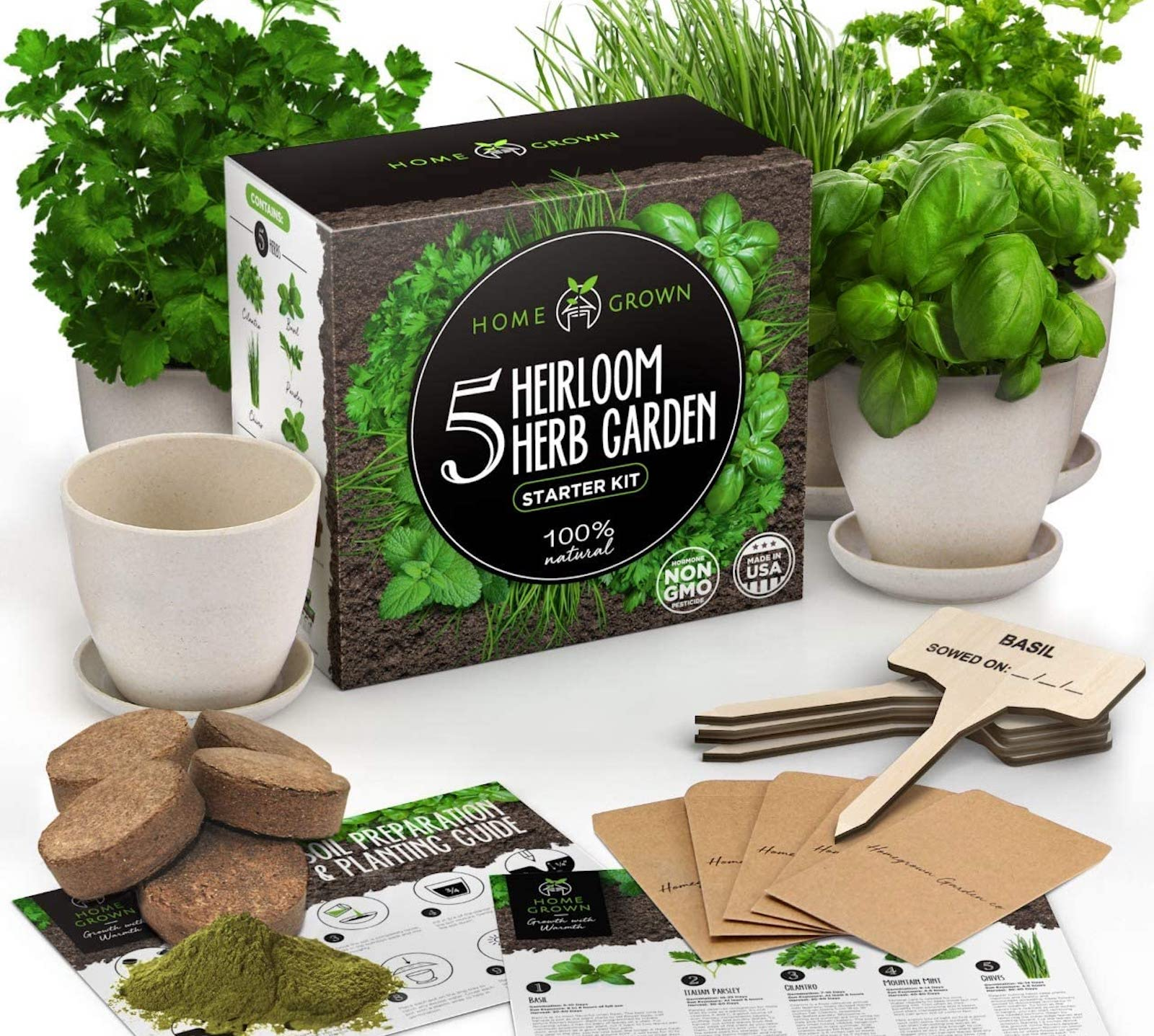 A herb garden kit box, with potted herbs, soil disks, and a how-to guide set around the box