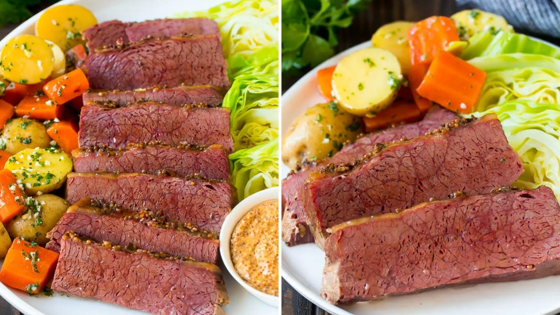 Sliced corned beef and cabbage on a white platter.