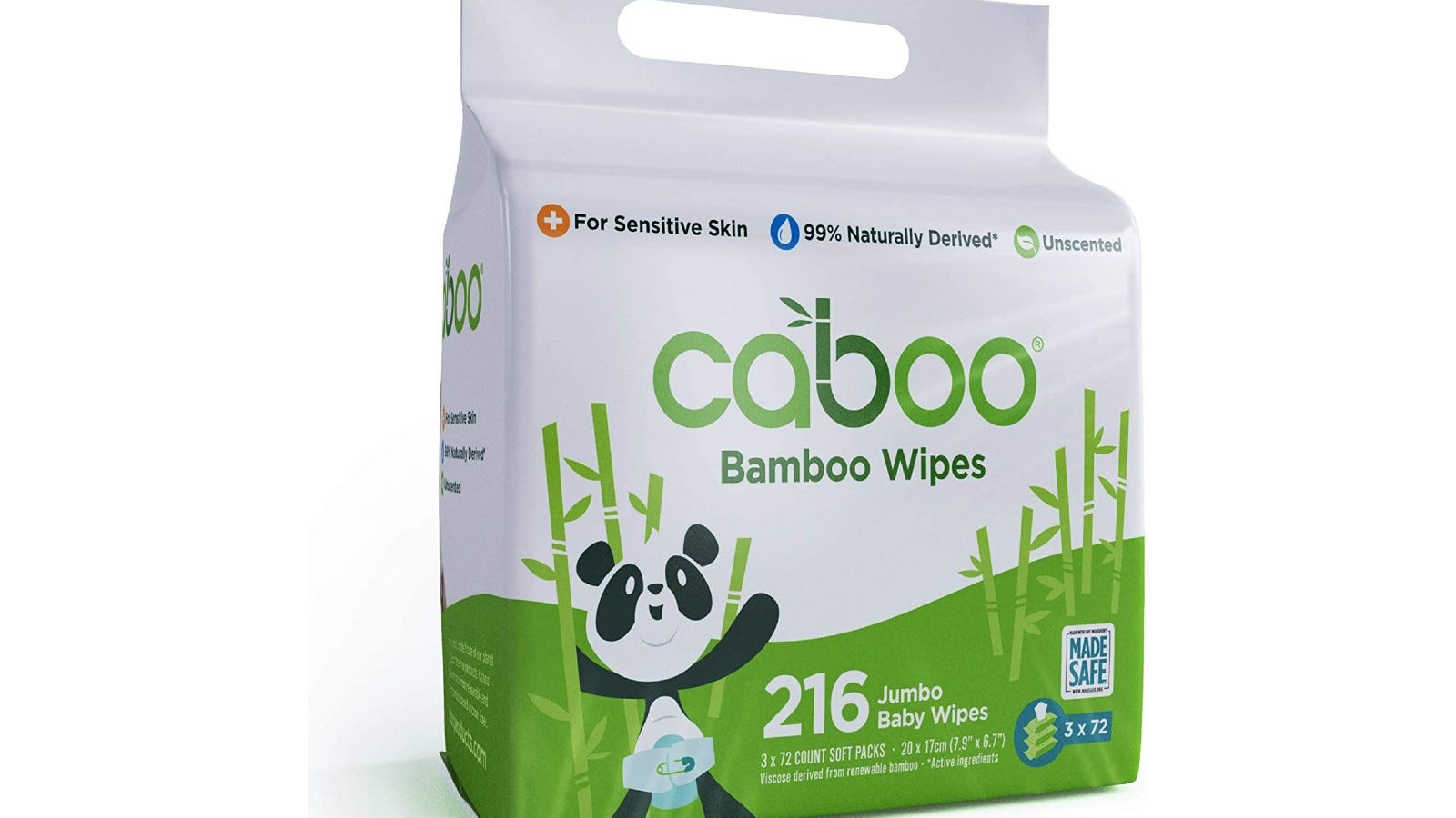 a bag of Caboo Bamboo Wipes