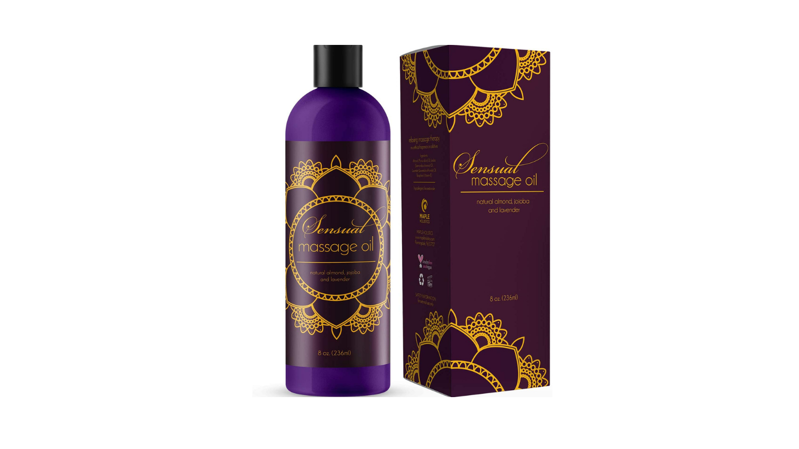 Sensual massage oil with lavender notes in purple packaging.