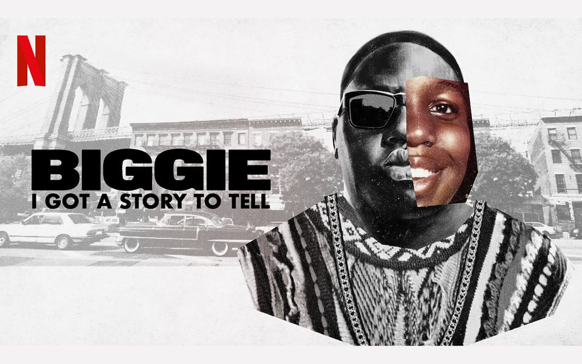 """An ad for """"Biggie I Got a Story to Tell"""" featuring Rapper Biggie Smalls."""