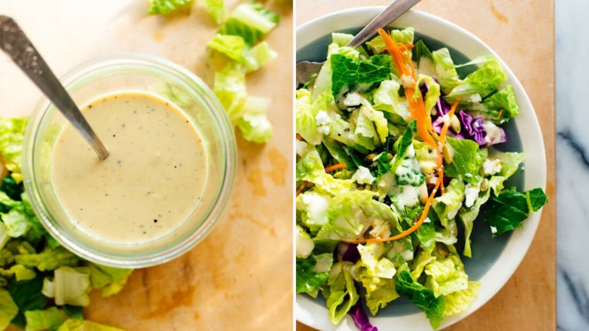 A spoon in a container full of Sunshine dressing and a salad with some drizzled on top.