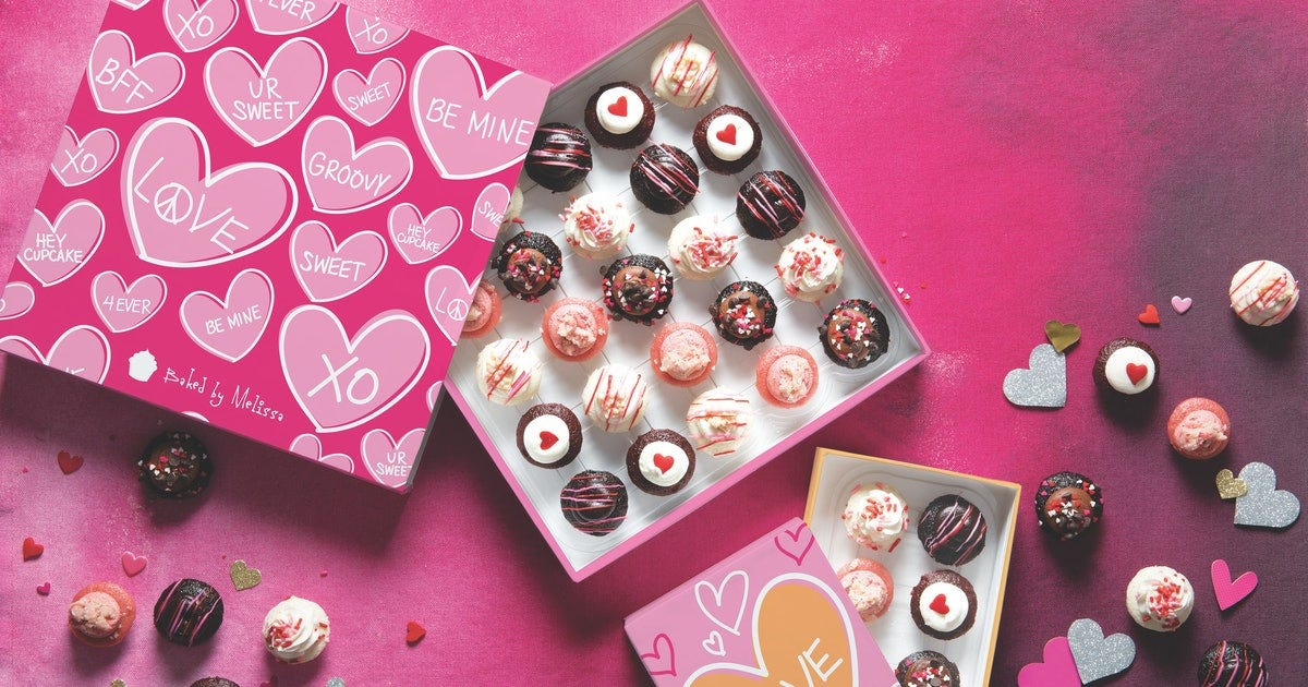 A box of mini cupcakes for Valentine's Day