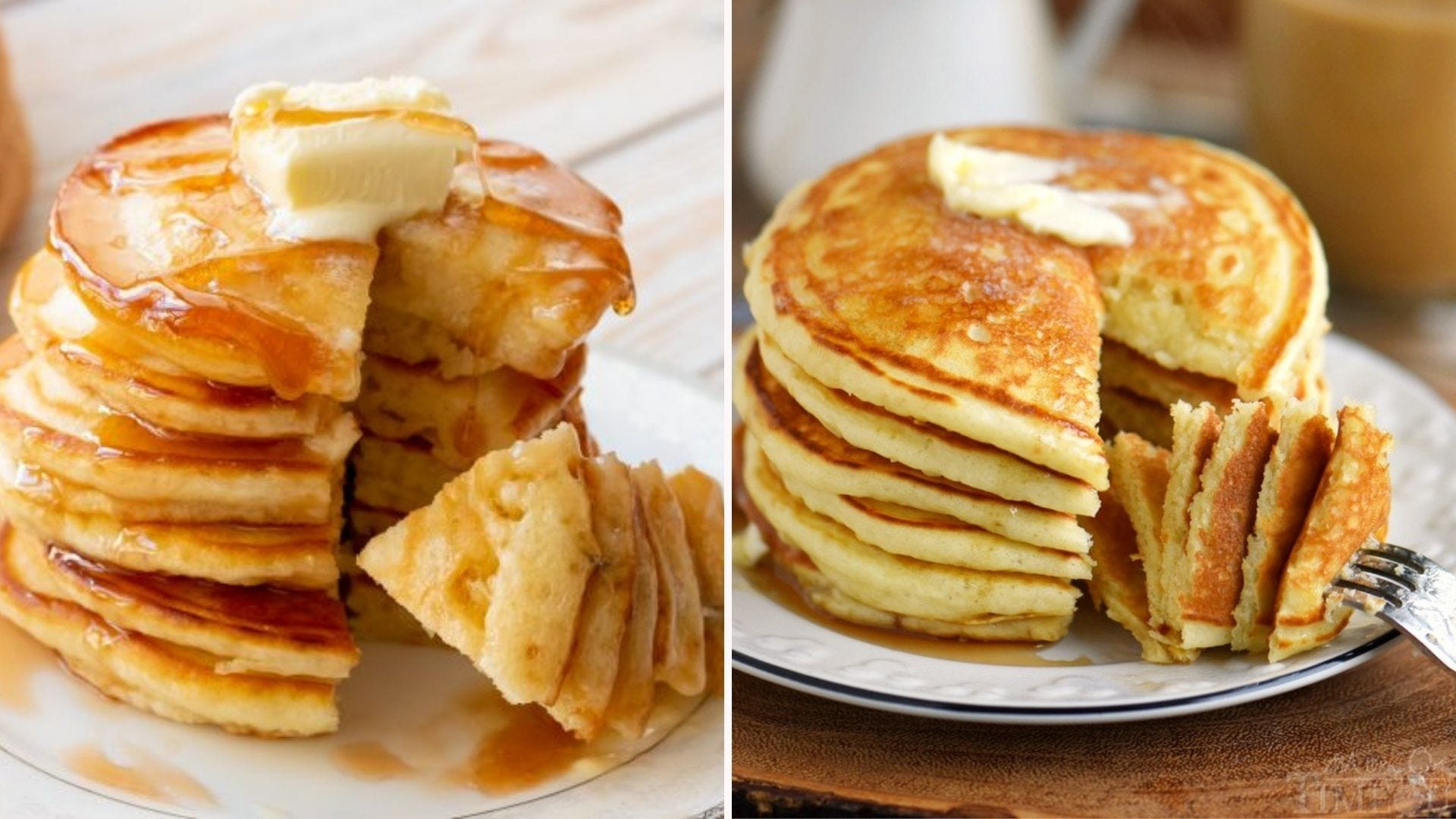 One stack of fluffy buttermilk pancakes with butter and syrup on top, and one topped with just a pat of butter.