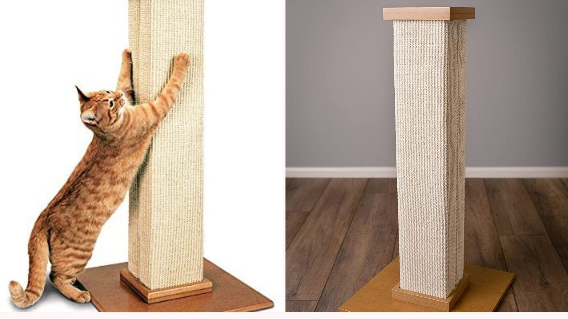 An orange tabby cat stretched out and scratching the SmartCat Pioneer Scratching Post, and the post set up on a hardwood floor.