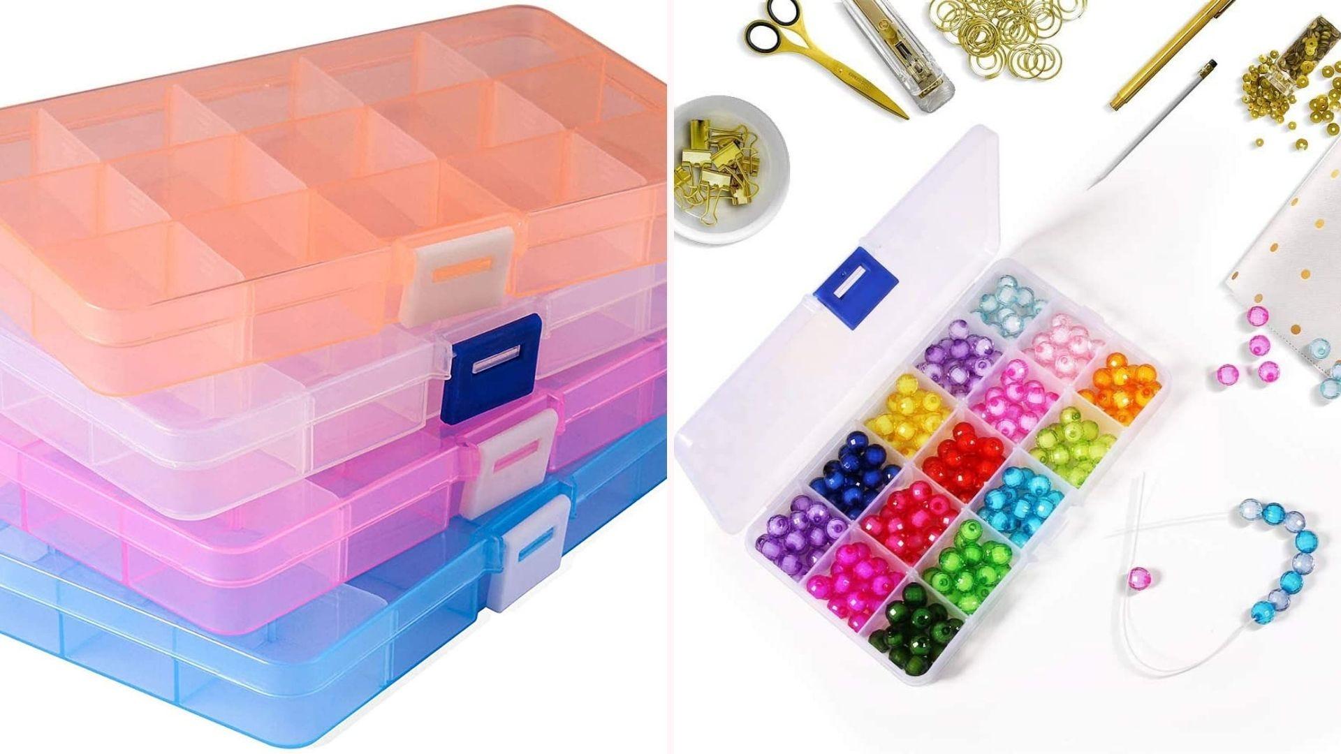 Plastic bead organizing boxes