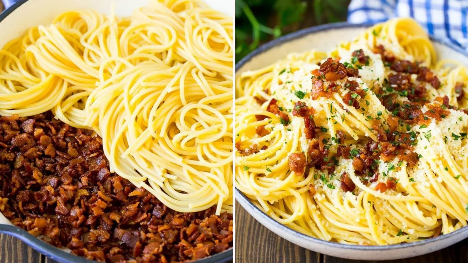 Two side-by-side images; the left image is of spaghetti and chopped bacon in a large skillet and the right image is of a finished pasta carbonara dinner topped with bacon bits, parmesan cheese and parsley.