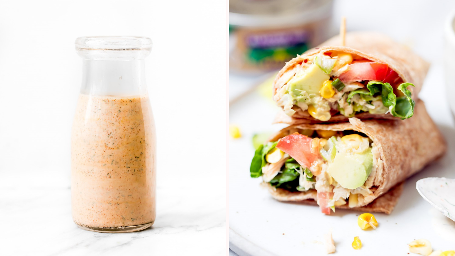 A glass pourer full of chipotle ranch dressing, and two stacked wraps with chipotle ranch inside.