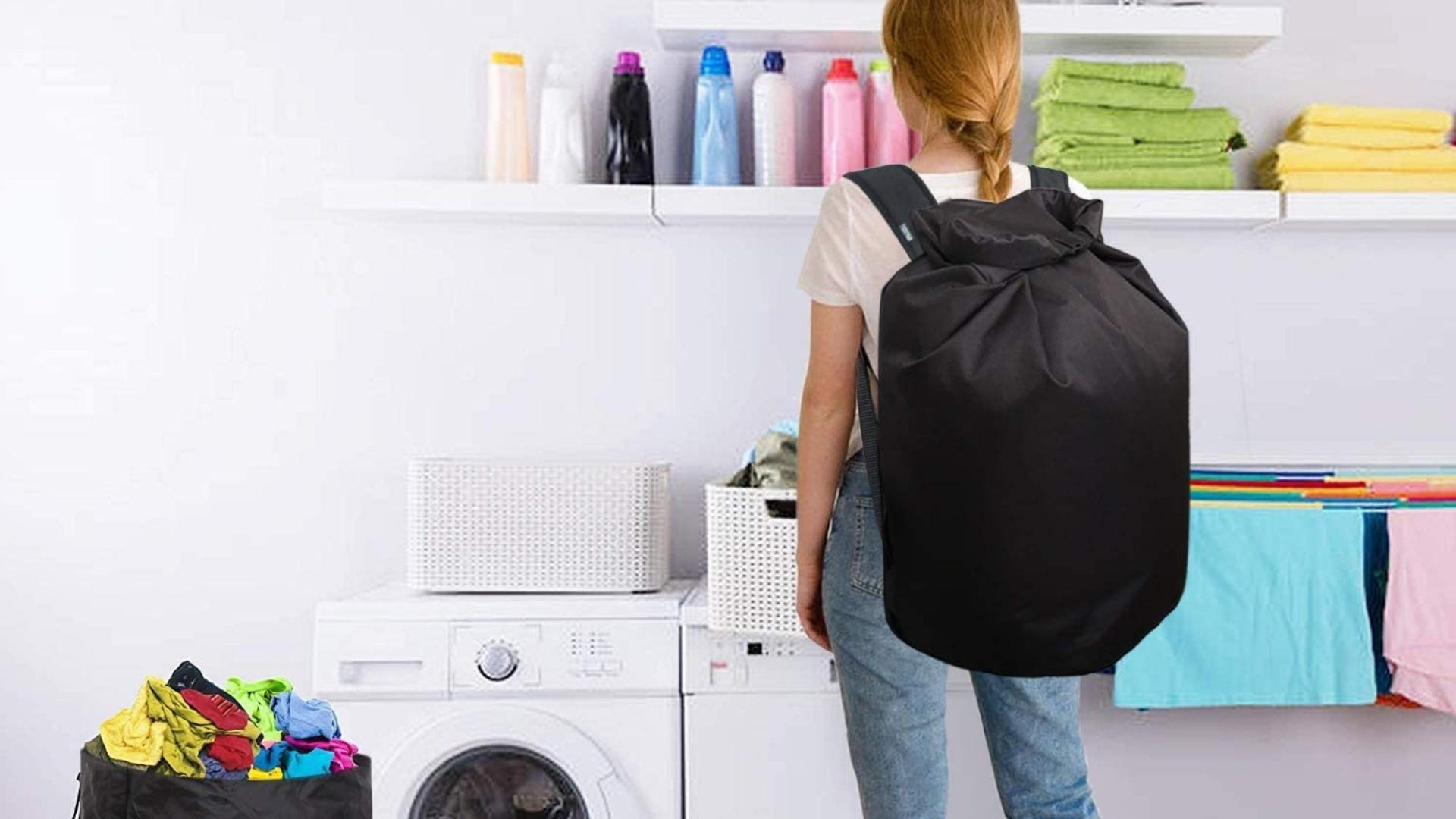 A woman sorting clothes on a dryer while wearing the laundry backpack.