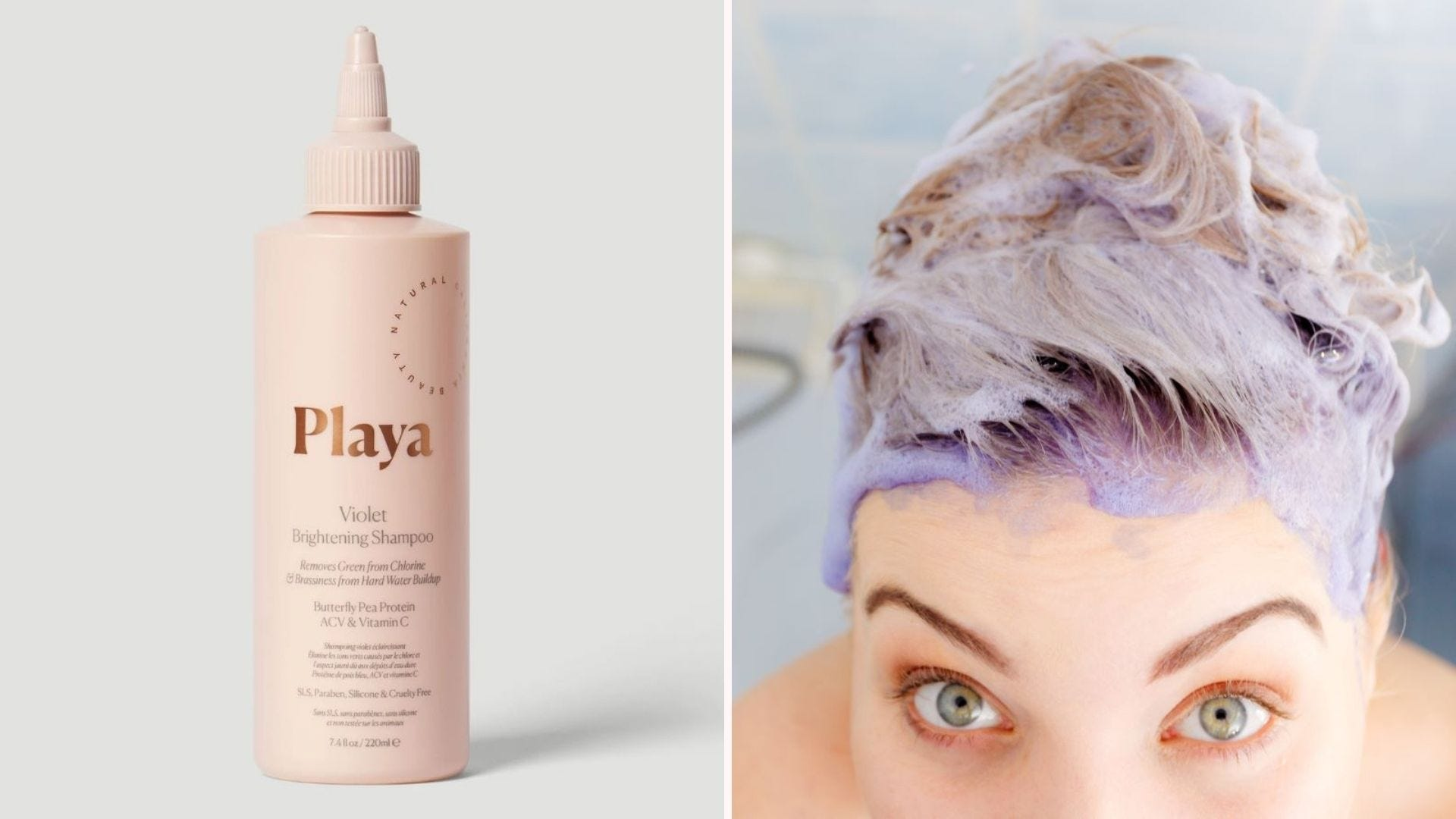 A bottle of Playa Violet Brightening Shampoo and a woman in the shower with a lather of purple shampoo on her head.