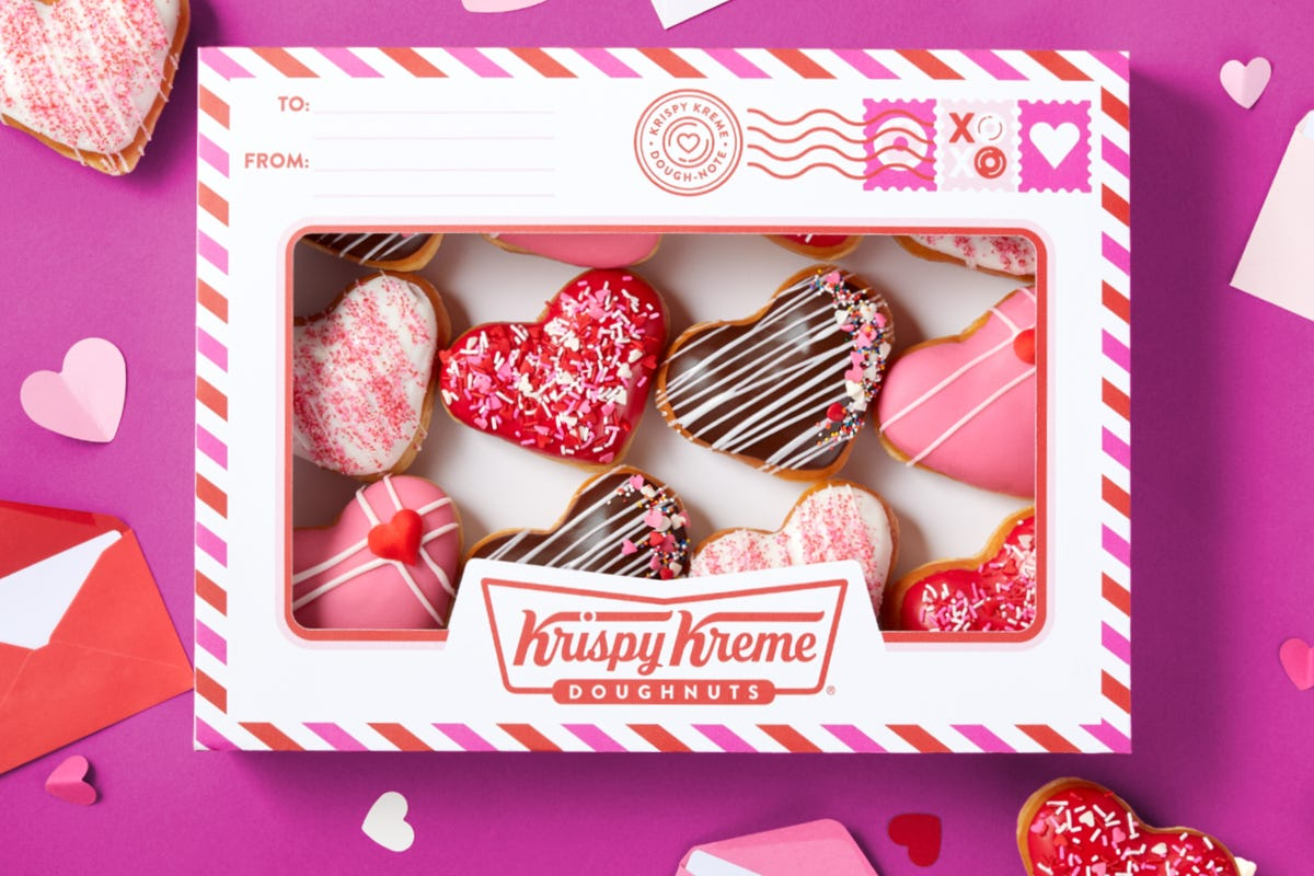 A dozen Dough-Notes from Krispy Kreme in the special Valentine's Day box.