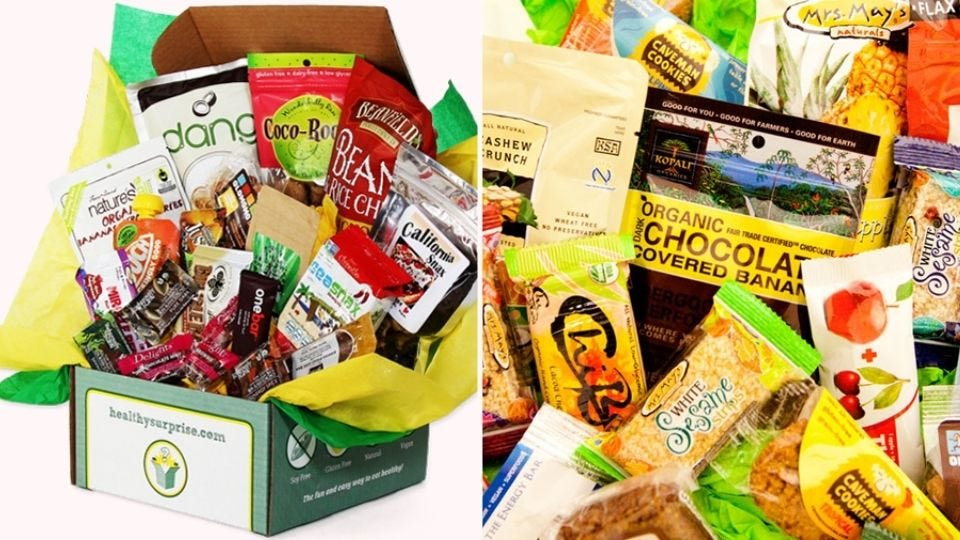 Examples of the treats in the Healthy Surprise snack box.