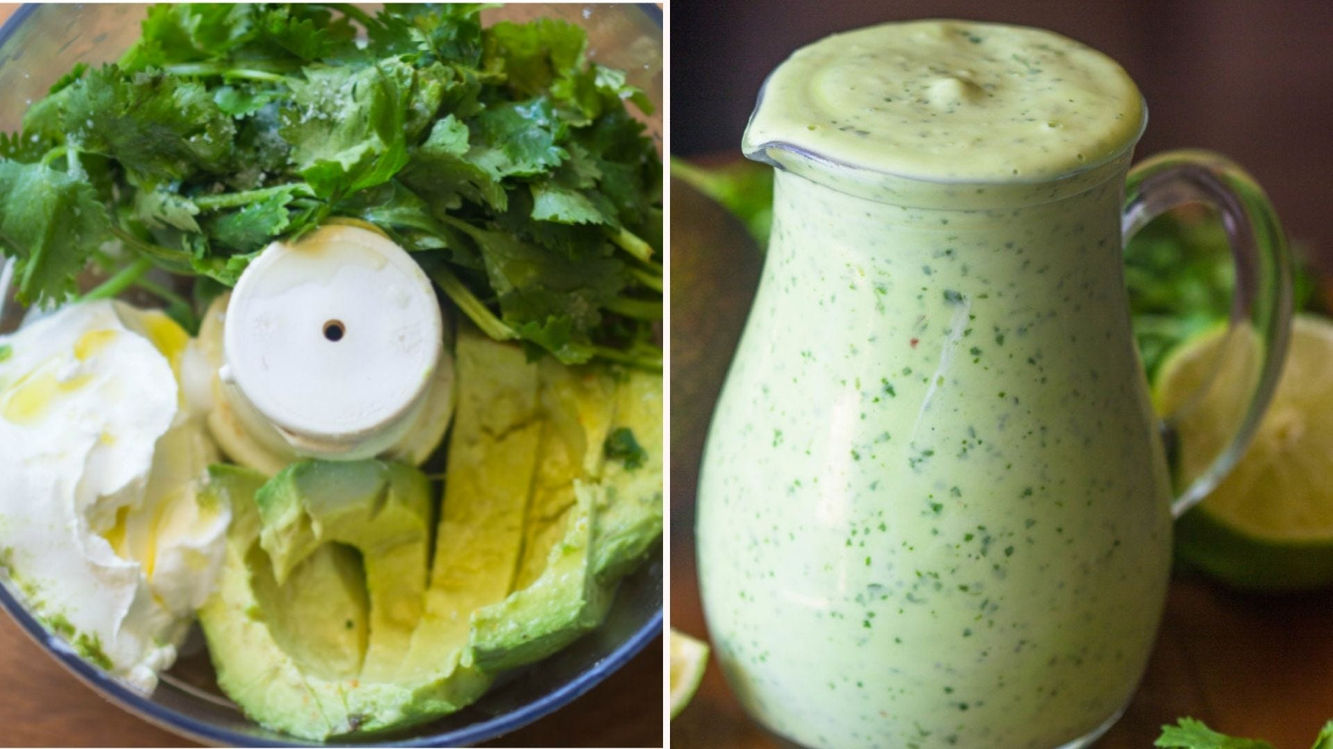 The ingredients in a food processor, and a glass pitcher full of avocado cilantro dressing.