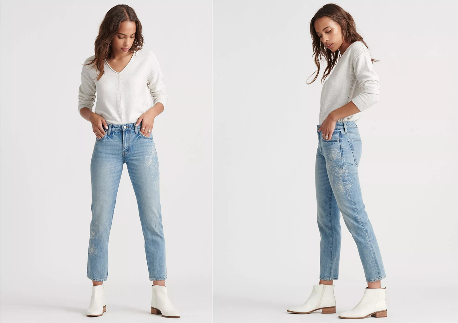 Front and side views of a woman wearing the Mid Rise Sienna Slim Boyfriend Jeans.
