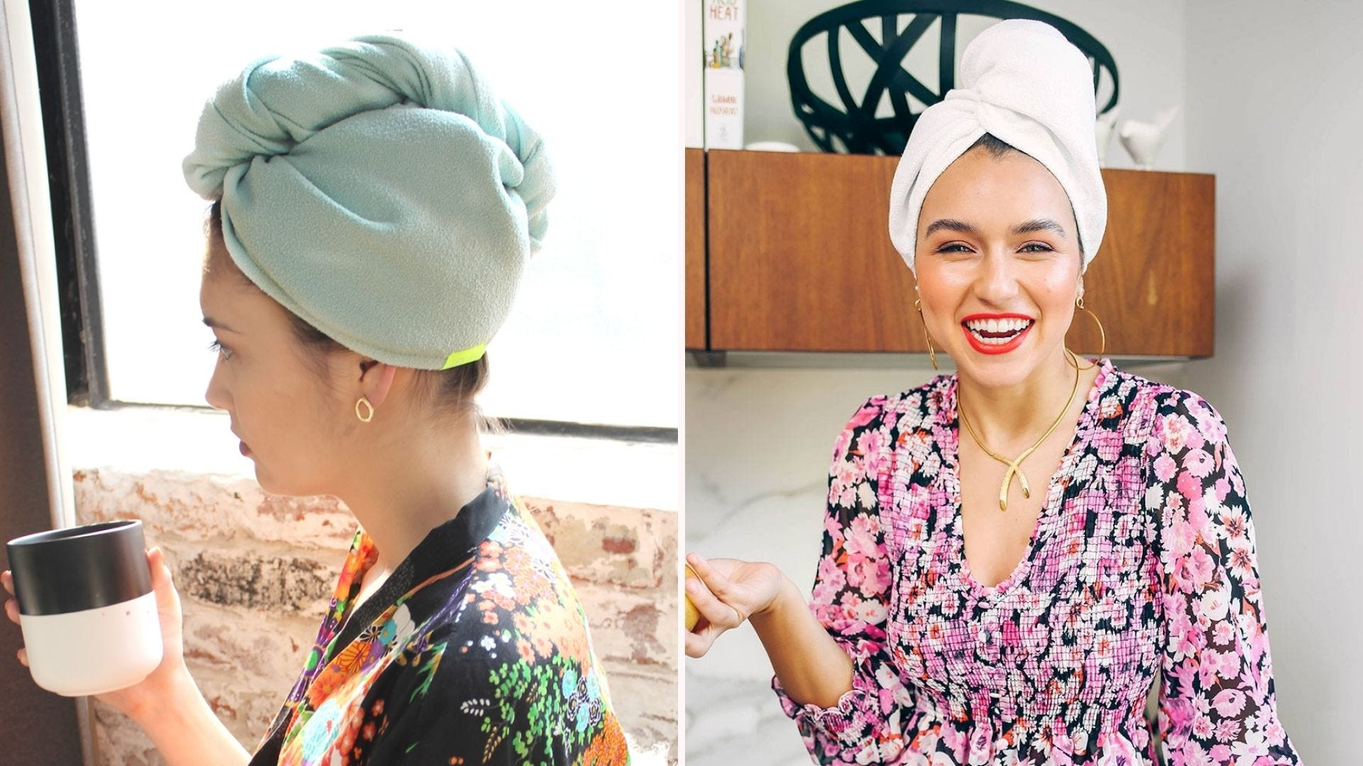 Women wearing microfiber drying turbans to protect their hair from towel damage.